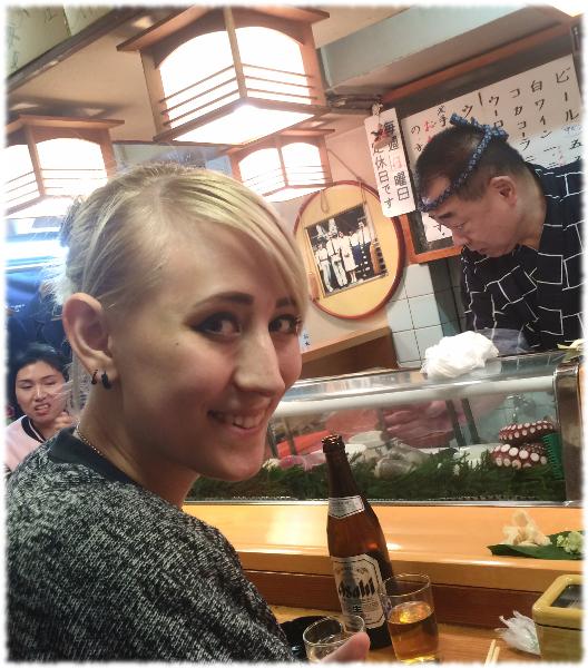 Maya eating sushi